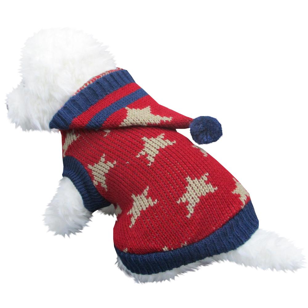 星柄フード 赤色 Lサイズ ペットウェア ペット服 かわいい おしゃれ 北欧