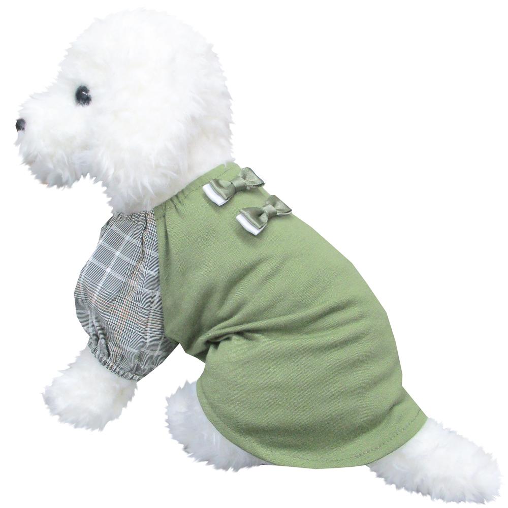 パフリボン グリーン Mサイズ ペットウェア ペット服 かわいい おしゃれ 北欧