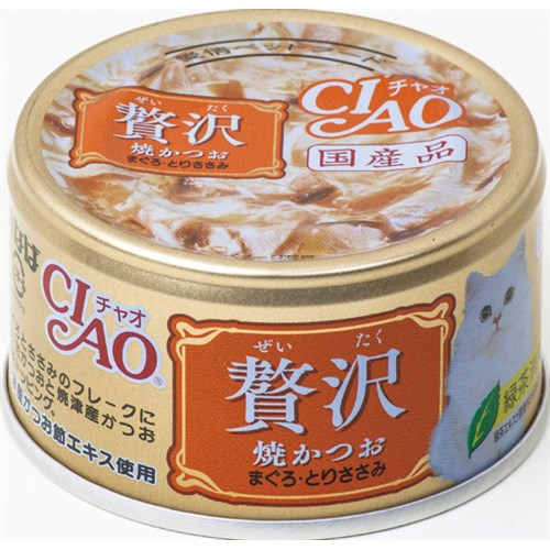 チャオ缶贅沢 焼かつおまぐろとりささみ80g
