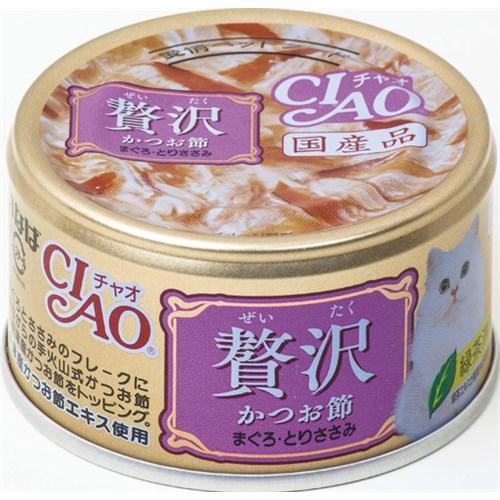 チャオ缶贅沢 かつお節まぐろとりささみ80g