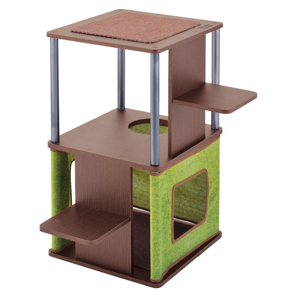 necoco コーナーや壁ぎわに置きやすい キャットリビングタワー ロータイプ