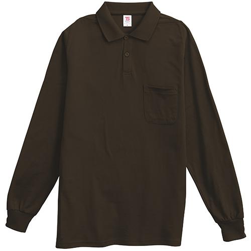 長袖ポロシャツ 1075 ブラウン L