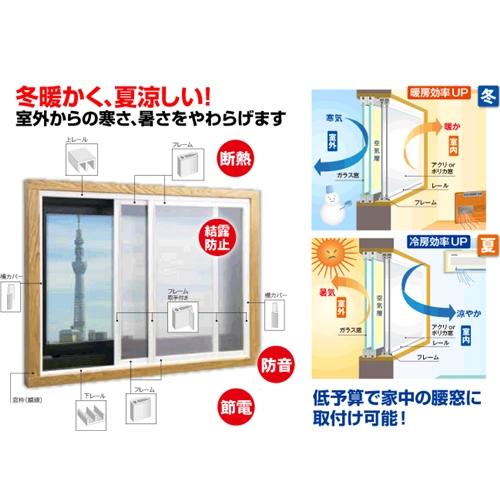アクリサンデー 簡易内窓キットM ホワイト W1800XH900mm以内(引き違い) 面材付 ※お客さま組立品