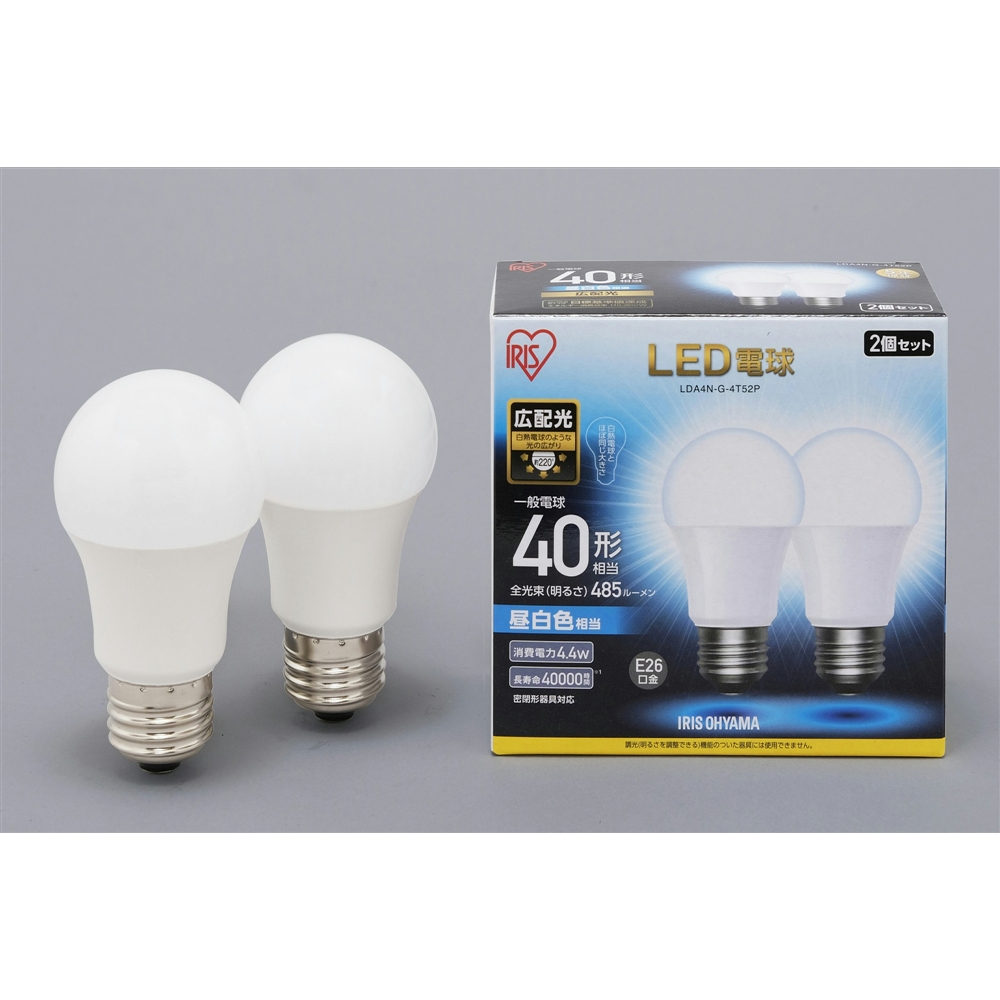 LED電球E26 2P広配光タイプ昼白色40形相当 LDA4NーG−4T52P