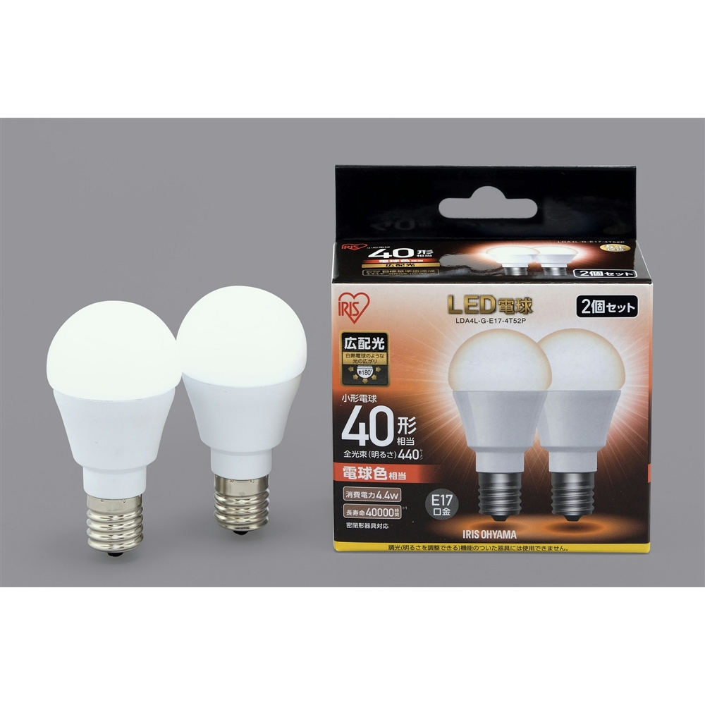 LED電球E17広配光タイプ2P電球色40形相当 LDA4LGE17−4T52P