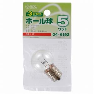 長寿命 LEDボール球 G30型 E17/5W クリア LB−G3705−CLL
