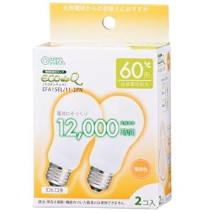 エコ電球 電球色 電球型蛍光灯 省エネ電球 EFA15EL/11−2PN