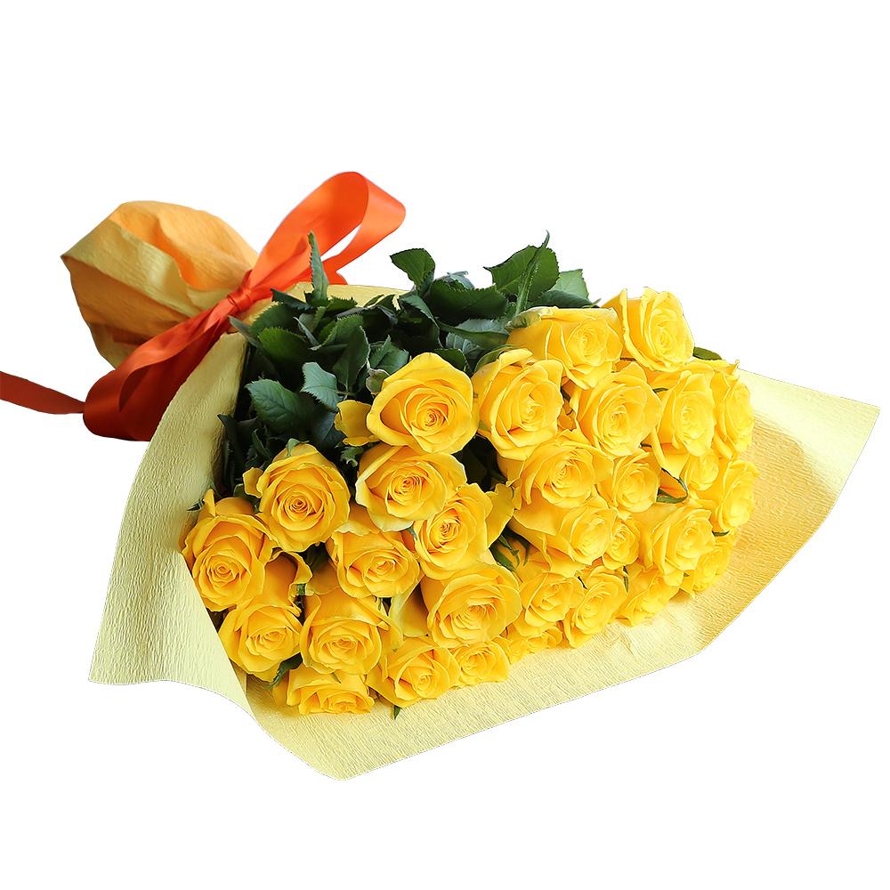 バラ花束 フラワーギフト 黄色 30本束 かわいい系ラッピング 高さ40cm前後