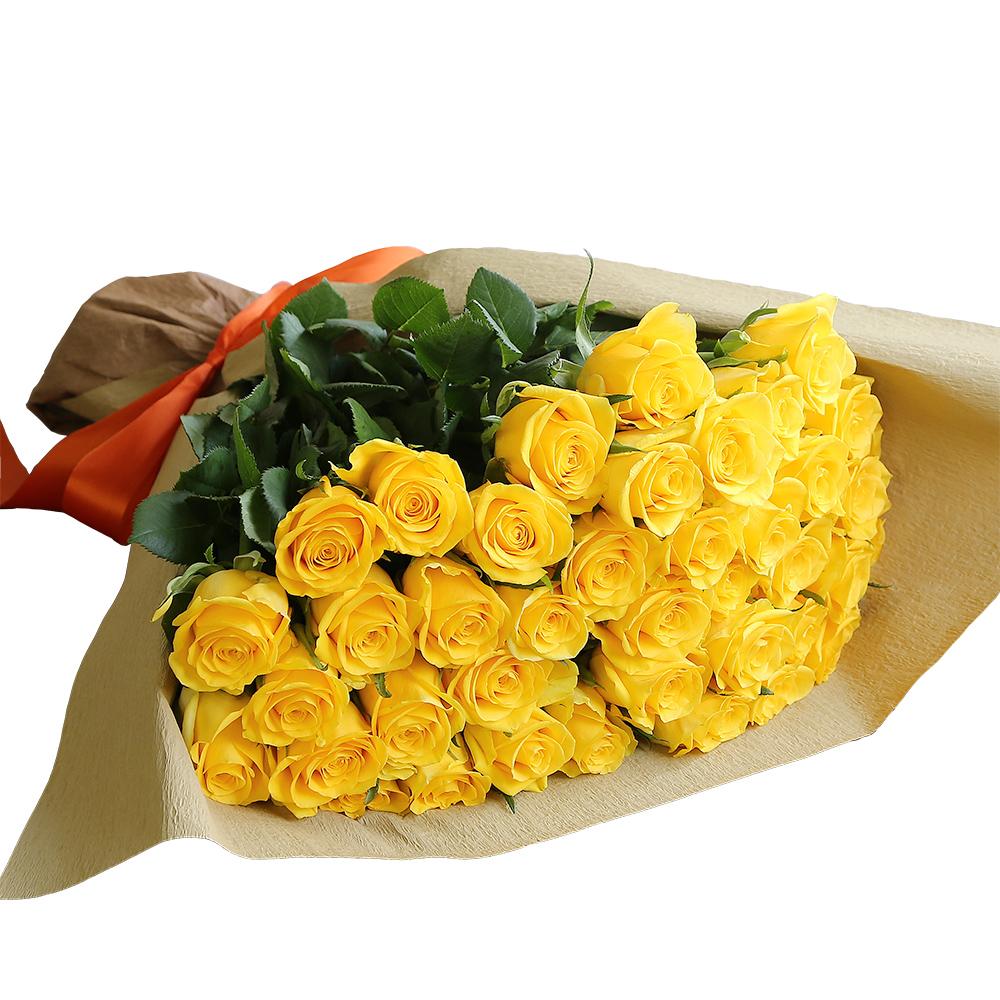 バラ花束 フラワーギフト 黄色 40本束 シック系ラッピング 高さ40cm前後