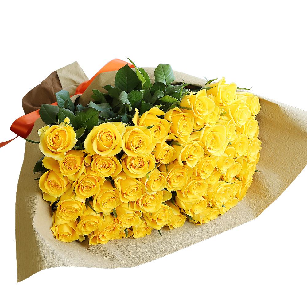 バラ花束 フラワーギフト 黄色 50本束 シック系ラッピング 高さ40cm前後