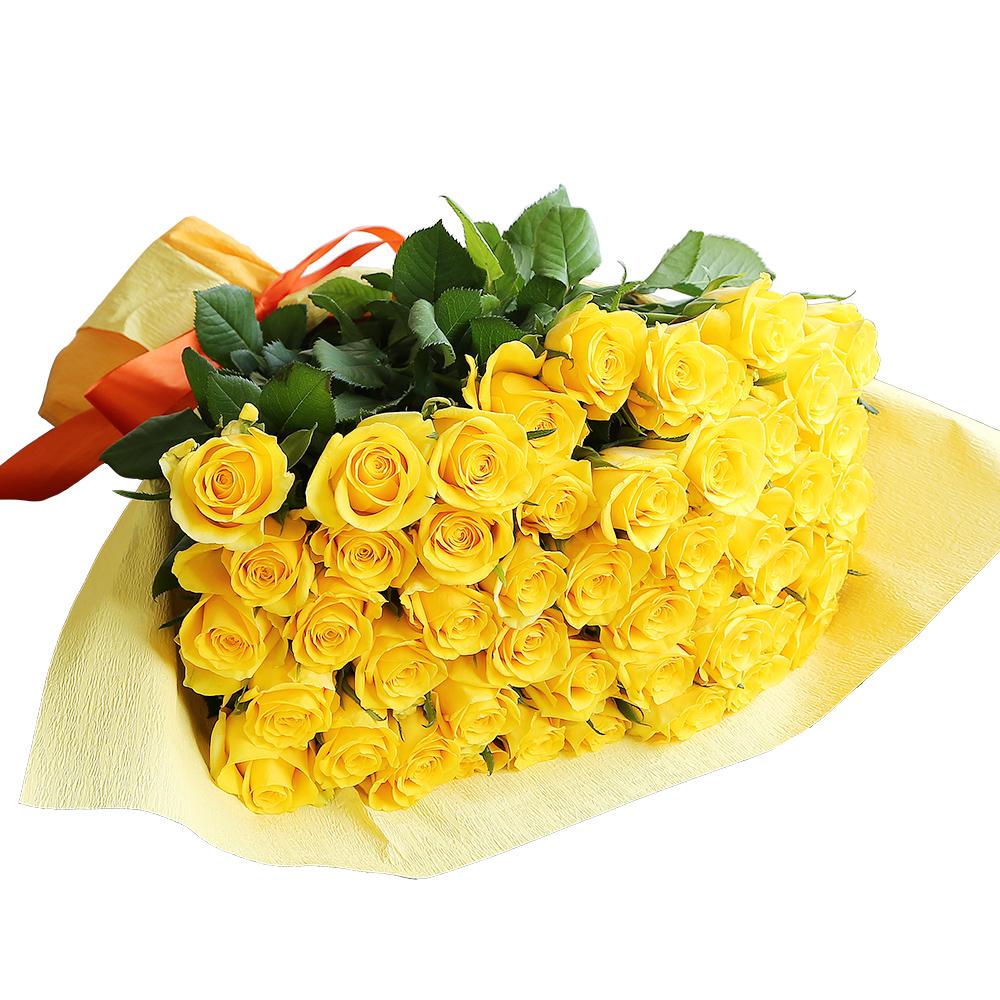 バラ花束 フラワーギフト 黄色 50本束 かわいい系ラッピング 高さ40cm前後