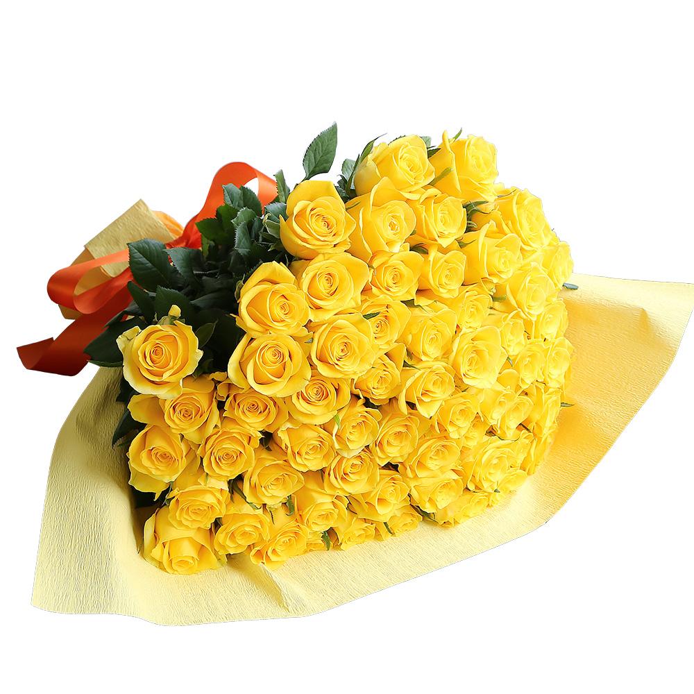 バラ花束 フラワーギフト 黄色 60本束 かわいい系ラッピング 高さ40cm前後