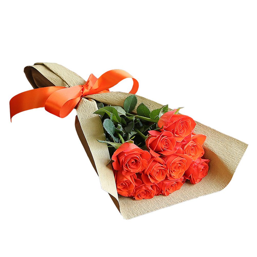 バラ花束 フラワーギフト オレンジ色 10本束 シック系ラッピング 高さ40cm前後