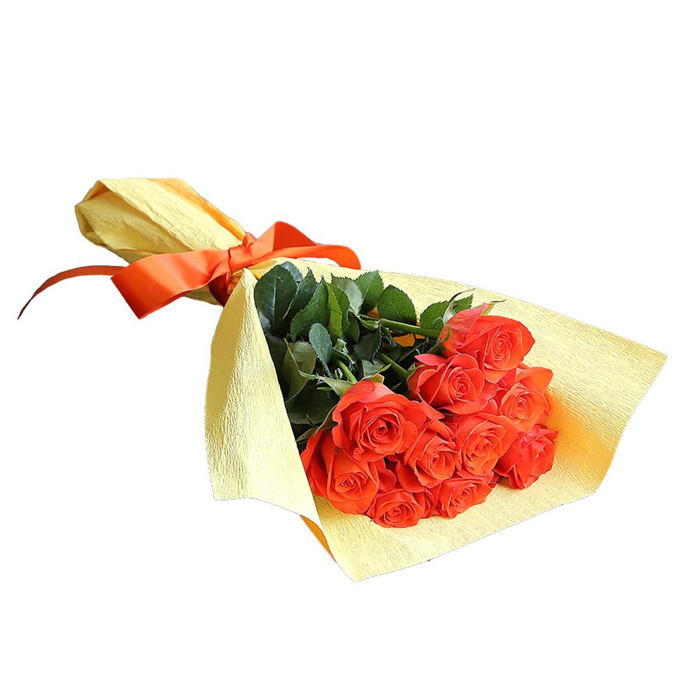 バラ花束 フラワーギフト オレンジ色 10本束 かわいい系ラッピング 高さ40cm前後