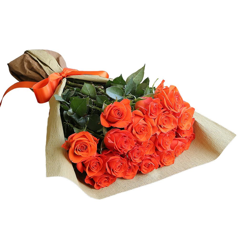 バラ花束 フラワーギフト オレンジ色 20本束 シック系ラッピング 高さ40cm前後
