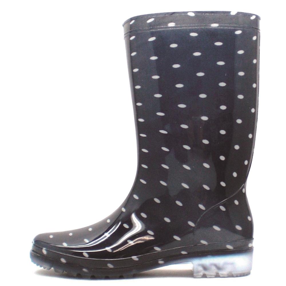 レディース長靴 LB8120 ドットネイビー L