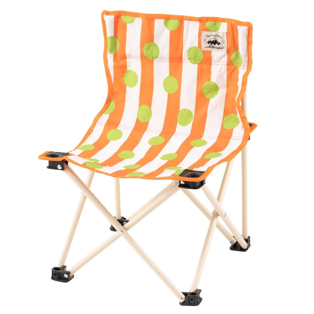 コーナン オリジナル 折畳式 コンパクト フィッシングチェア ドット柄オレンジ 幅35X奥行35X高さ48cm 重量1.5kg 耐荷重:60kg