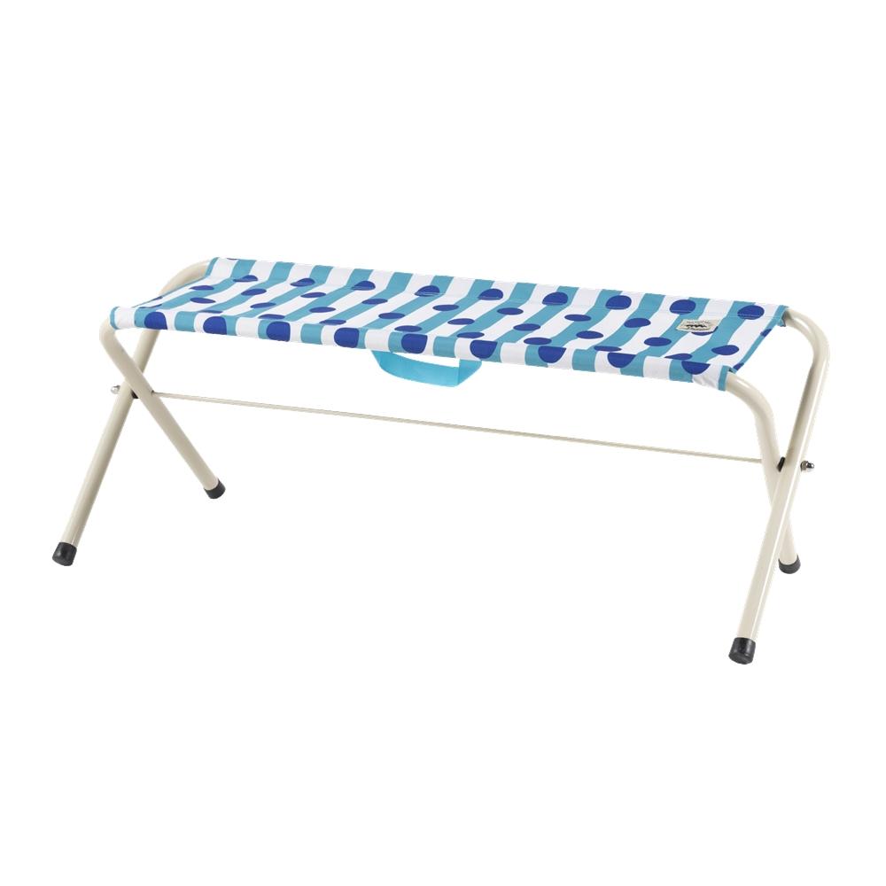 コーナンオリジナル 折畳式 スタンダード ベンチ  ドットブルー 幅100X奥行32X高さ39cm 耐荷重130kg