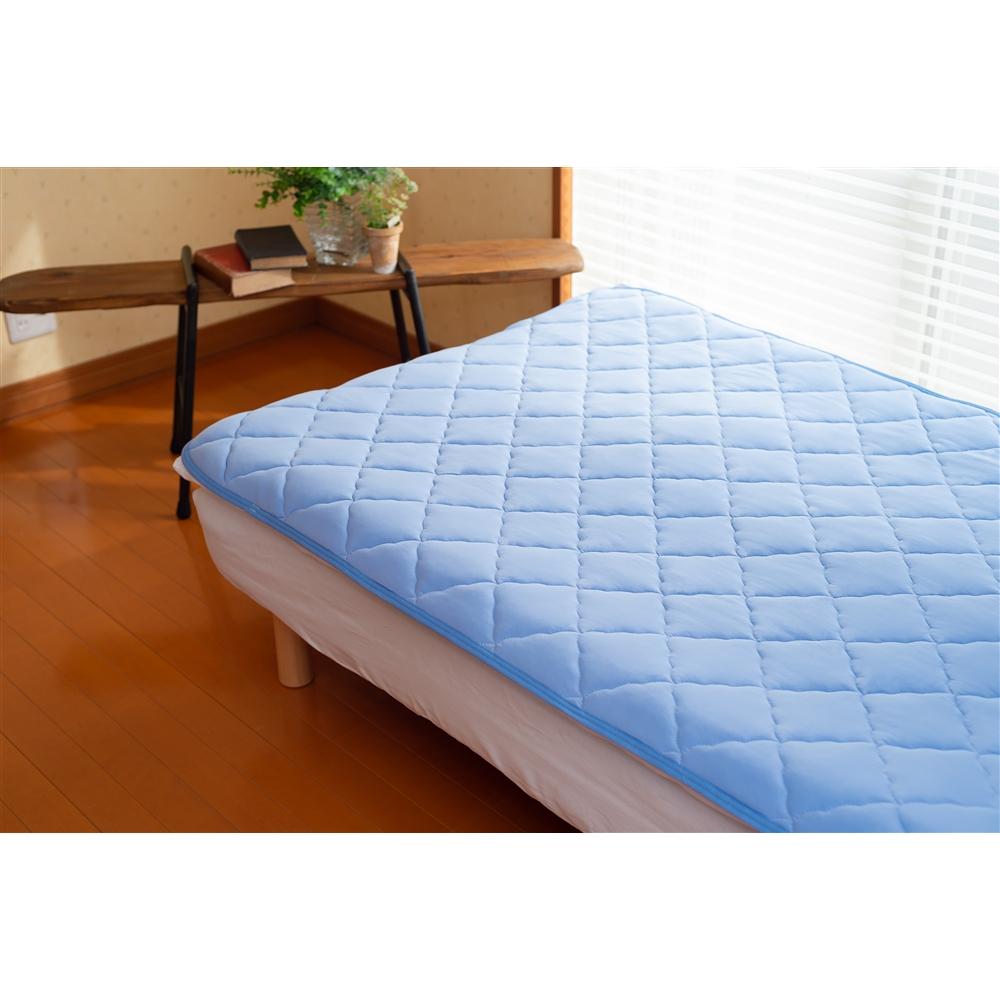 吸水速乾冷感敷パッド 約140×205cm ブルー