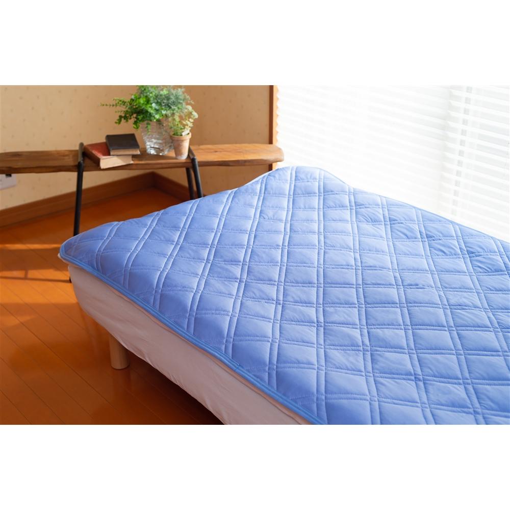 防ダニ冷感敷パッド 約140×205cm ブルー