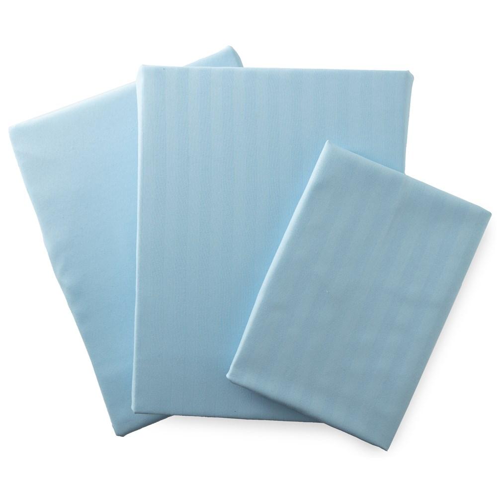 ホテルタイプ 布団カバー3点セット (敷布団用)  シングル ブルー 55960102-S-BL