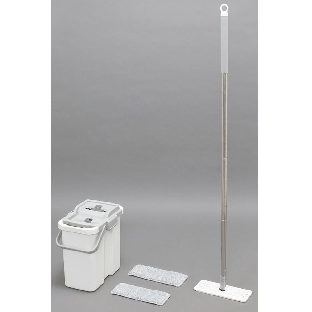 アイリスオーヤマ(IRIS OHYAMA) フロアモップ ホワイト (モップ部本体):幅約26×奥行約10×高さ約126.5cm フラットモップ FLMO-130