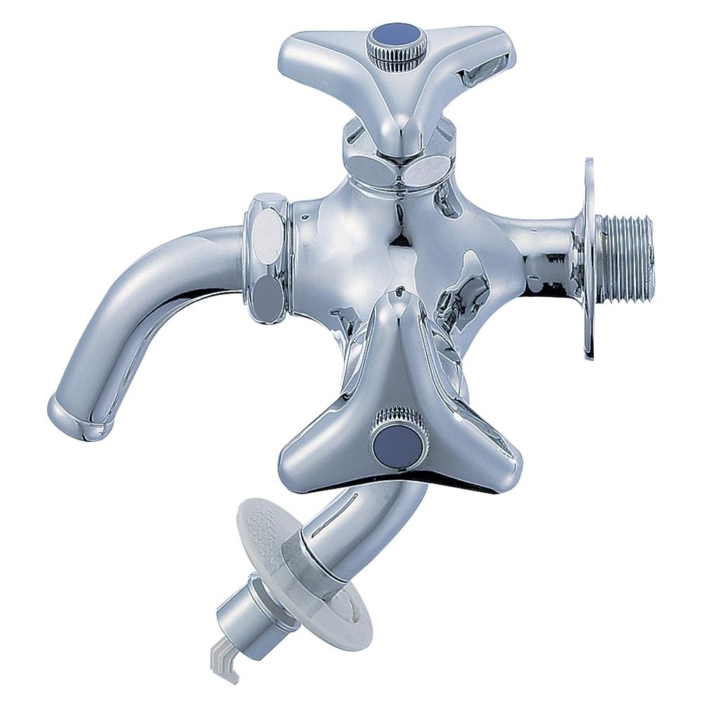 SANEI 【洗濯機横水栓】 二口横水栓 F123TV-1-13
