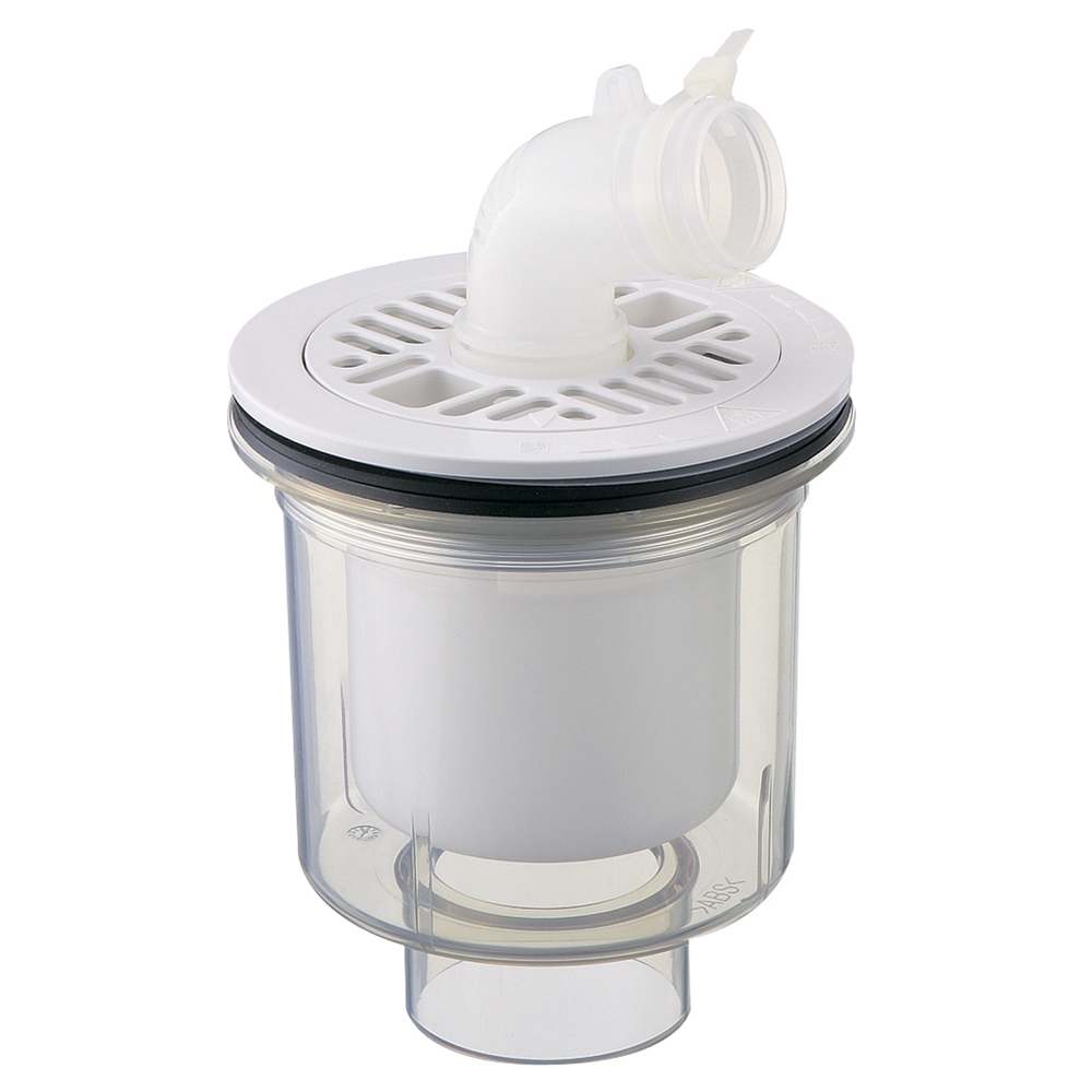 SANEI 【洗濯機排水トラップ】 縦引き用 透明 H5550C-50