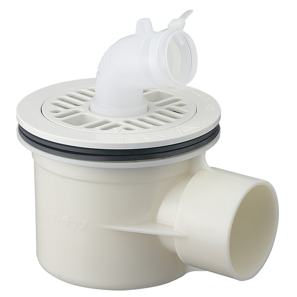 SANEI 【洗濯機排水トラップ】 横引き用 ホワイト H5551C-W-50