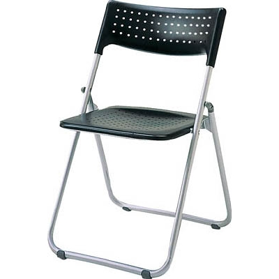 アイリスチトセ アルミ折りたたみ椅子(スタッキング) アルミパイプ ブラック SS-A027-BK