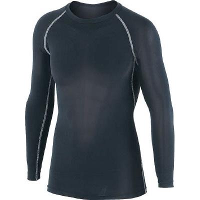 おたふく 冷感 消臭 パワーストレッチ長袖クルーネックシャツ ブラック L JW623BKL