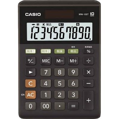 カシオ W税率電卓(ミニジャストタイプ) MW100TBKN