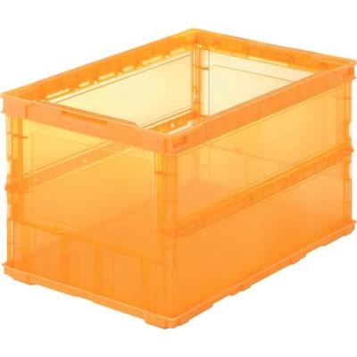 TRUSCO 薄型折りたたみコンテナスケル 50L オレンジ TSK-O50B OR