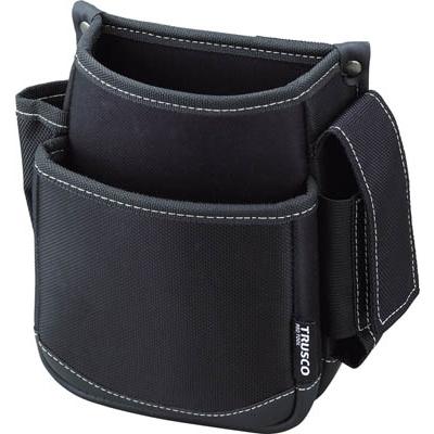 TRUSCO 腰袋 2段 携帯電話ホルダー付き ブラック TWP2-BK