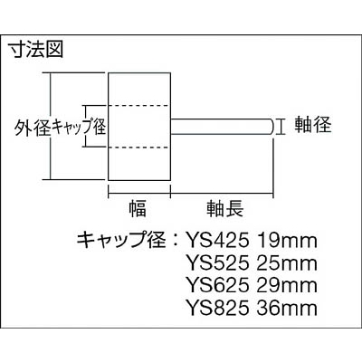 TRUSCO 軸付ソフトホイール 外径50X厚25X軸6 5個入 80♯ YS525 80