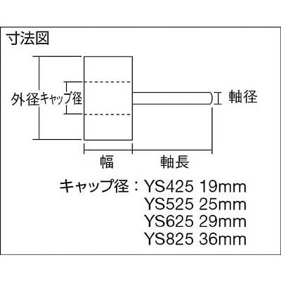TRUSCO 軸付ソフトホイール 外径60X厚25X軸6 5個入 100♯ YS625 100