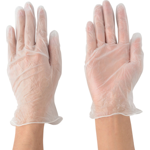 川西 ビニール使いきり手袋 粉付 100枚入り Mサイズ2024M