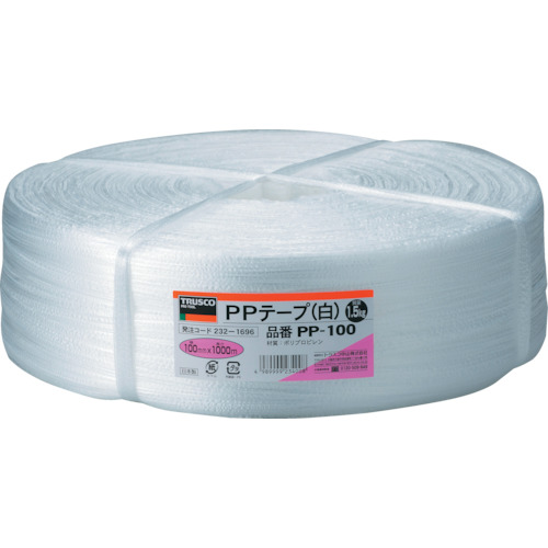 TRUSCO PPテープ 幅100mmX長さ1000m 白 PP-100